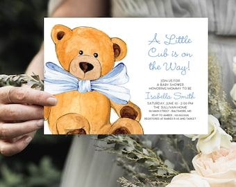 Blue Teddy Bear Baby Shower Invitation - It's a Boy Watercolor Modern Baby Shower Blue Little Cub Printable Baby Boy