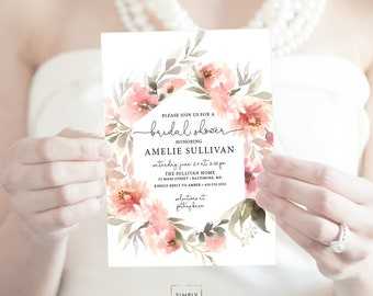 Coral Pink Floral Greenery Bridal Shower Invitation - Garden Shower - Peony Roses Blush Invitation Watercolor Printable Invitation Script
