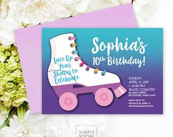 Roller Skating Birthday Party Invitation Purple Kids Printable Party Invite Girl Birthday Party Skating Party Roller Skating Party