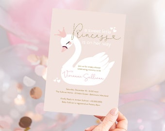 Pink Swan Princess Baby Shower Invitation - It's a Girl