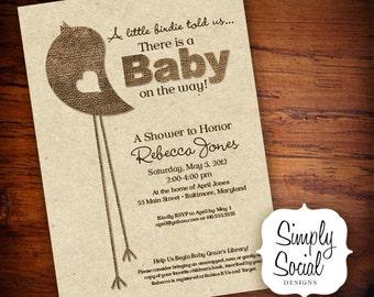Rustic Little Bird Baby Shower Invitation