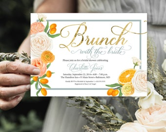 Brunch with the Bride, Orange Blossom Floral Bridal Shower Invitation  - Printed Invitations - Mimosa Invitation