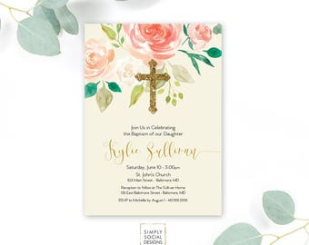 Baptism Invitation - First Holy Communion Invitation - Peach Peony Ranunculus and Faux Gold Foil Watercolor Floral Boho Printable