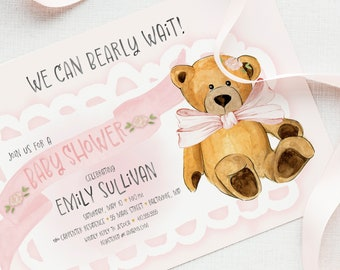 Pink Teddy Bear Baby Shower Invitation - It's a Girl - We Can Bearly Wait