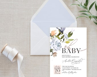 French Blue Floral Baby Shower Invitation