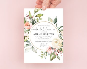 Pink Floral Bridal Shower Invitation - Blush Pink Flowers - Baby Shower - Peony Roses Greenery Invitation Watercolor Printable