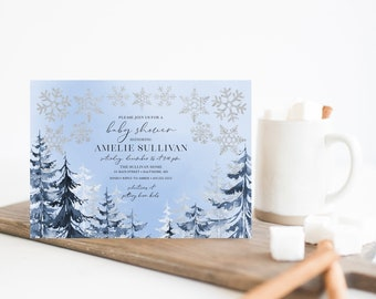 Snow Flakes with Blue Pine Trees Baby Shower Invitation - Baby It's Cold Outside - Boy Baby Shower - Winter Baby Shower