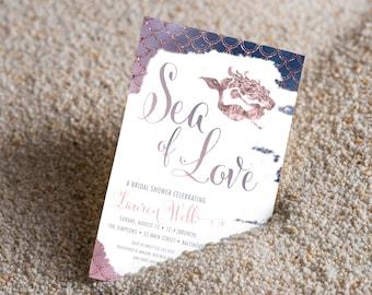 Rose Gold Ombre UNDER THE SEA Bridal Shower Invitation, Sea of Love, Beach Invitation
