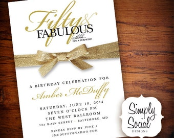 Surprise Fifty and Fabulous 60th 50th 40th 30th Birthday Party Invitation with Gold Glitter Ribbon