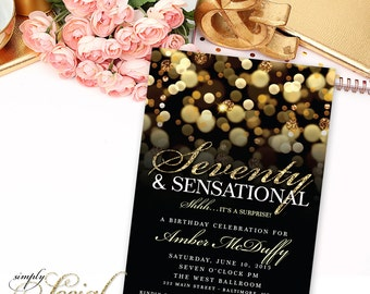 Surprise 70th Birthday Party Invitation with Gold Glitter Bokeh Seventy and Sensational PRINTABLE
