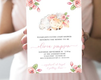 Pink Floral Lamb Baby Shower Invitation