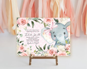 Pink Floral Elephant Baby Shower Invitation - It's a Girl - Watercolor Elephant - Little Peanut is Almost Here - Sweet Little Peanut