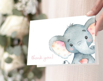 Pink Elephant Baby Shower Thank You Notes