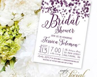 Purple Confetti Bridal Shower Invitation