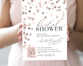 Rose Gold Confetti Bridal Shower Invitation