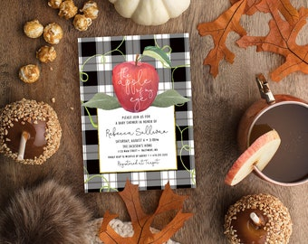 Apple of My Eye Black Gingham Baby Shower Invitation