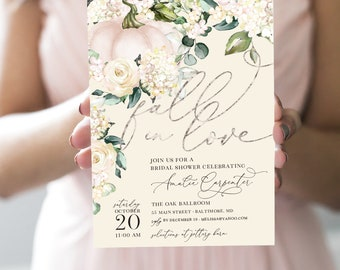 Pumpkin Bridal Shower Invitation - Fall in Love