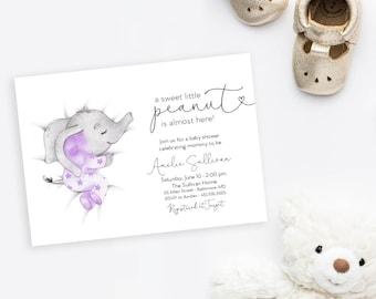 Purple Sleeping Elephant Baby Shower Invitation - It's a Girl Watercolor Elephant - Little Peanut is Almost Here - Sweet Little Peanut