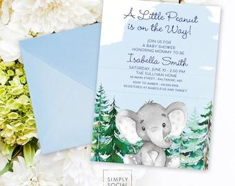 Blue Elephant Evergreen Baby Shower Invitation