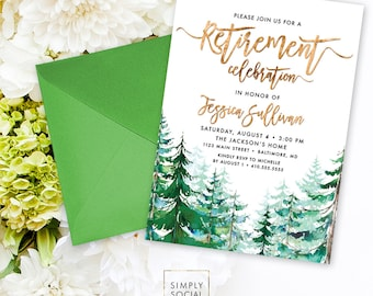 Retirement Party Invitation - Watercolor Conifer Pine Tree Party Invitation Evergreen Rustic Pine Tree Printable