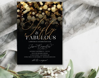 Surprise 50th Birthday Party Invitation with Gold Glitter Bokeh Fifty and Fabulous PRINTABLE