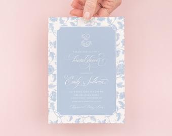 Chinoiserie Bridal Shower Invitations - Monogram Invite - Bridal Brunch - Chinoiserie Chic - Bridal Luncheon invitation - Bridesmaids Lunch