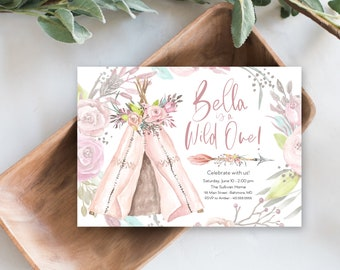 Girl Floral Wild One First Birthday Invitation, Pink Boho Teepee Invite