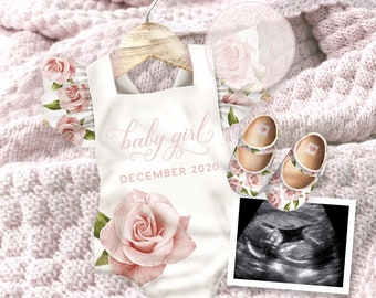Personalized Pregnancy Announcement for Social Media - Baby Girl