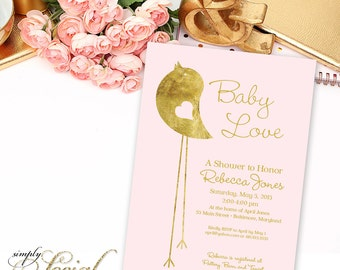 Blush and Gold Bird Shower Invitation - Blush Pink Gold Foil Little Bird Baby Shower Invitation