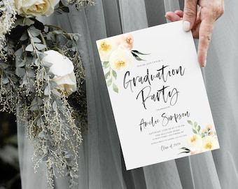 White Floral Graduation Party Invitation - Cream Flowers - Class of 2019 - Peony Roses Greenery Invitation Watercolor - Class of 2020