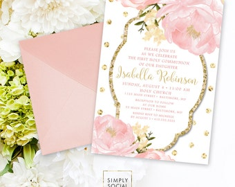 Floral Holy Communion Invitation