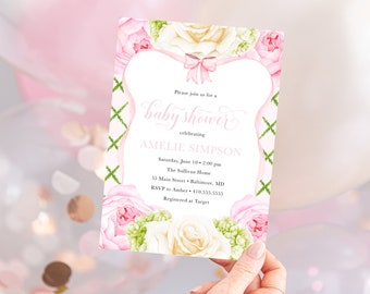 Preppy Pink and Green Bow Baby Shower Invitation with Flowers