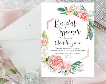 Pink Floral Greenery Bridal Shower Invitation - Geometric