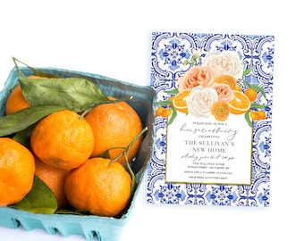 Orange Blossom Housewarming Party Invitation - Portuguese tile Floral and Citrus Invitation