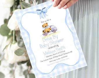 Blue Gingham Teddy Bear Drive By Baby Shower Invitation - It's a Boy - Little Cub - Baby Boy