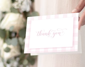 Pink Gingham Thank You Notes