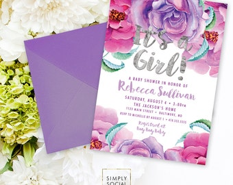 Purple Floral Baby Shower Invitation - Burgundy Lilac Purple Faux Silver Foil Boho Flowers Watercolor It's a Girl Printable Party Invite
