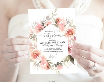 Coral Pink Floral Greenery Baby Shower Invitation - Garden Shower - Peony Roses Blush Invitation Watercolor Printable Invitation Script