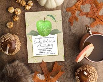 GREEN Apple of Our Eye Birthday Party Invitation - Apple Picking
