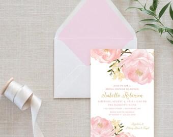 Peony Bridal Shower Invitation - Romantic Garden - Garden Bridal Shower -Peonie Flowers Blush Pink Bridal Shower Invitation Printable