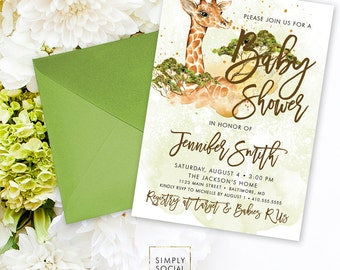 Giraffe Baby Shower Invitation - Boho Giraffe Gender Neutral Savannah Safari Baby Shower Invitation Watercolor Printable