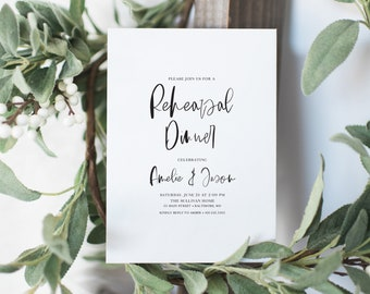 Black and White Modern Calligraphy Rehearsal Dinner Invitation