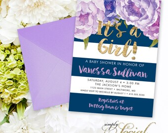 Purple Floral Baby Shower Invitation - Navy Stripes