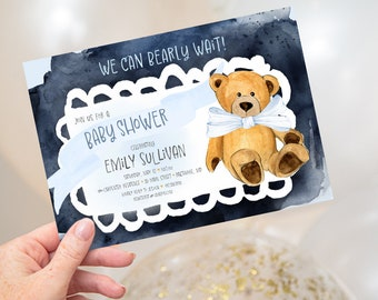We Can Bearly Wait - Blue Teddy Bear Baby Shower Invitation - It's a Boy