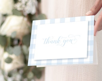 Blue Gingham Thank You Notes