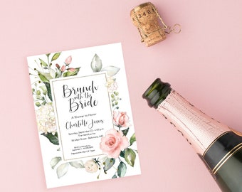 Brunch with the Bride - Pink Floral Bridal Shower Invitation