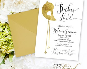 Gold Foil Bird Shower Invitation - Modern Calligraphy Gold Foil Little Bird Baby Shower Invitation Gender Neutral