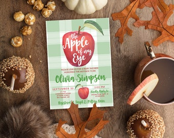 Apple Baby Shower Invitation - Watercolor Gingham Apple Bridal Shower Invite Birthday Invite Apple of My Eye Apple Picking Fall Party