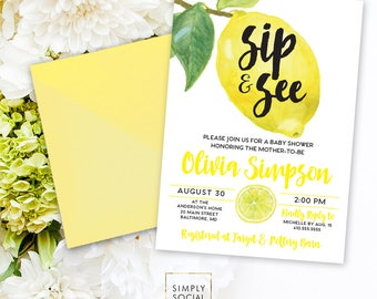 Sip and See Lemon Baby Shower Invitation