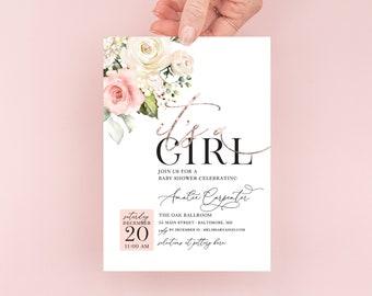 Pink Rose Gold Floral Baby Shower Invitation